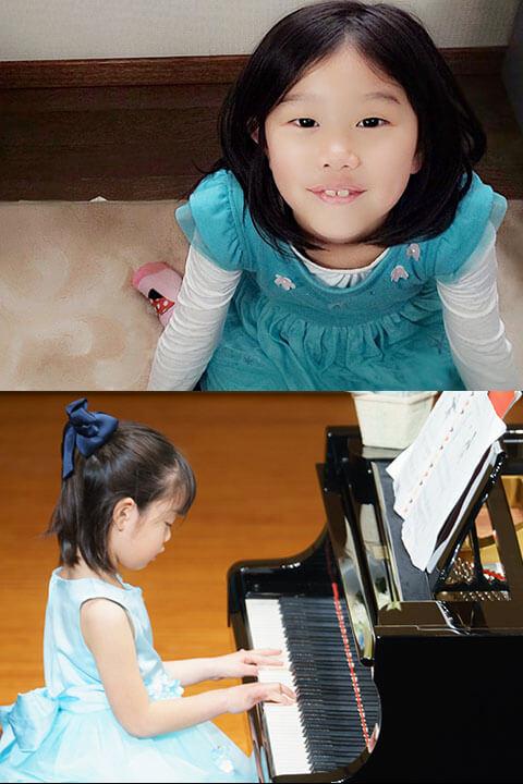 女の子とピアノを引いている女の子